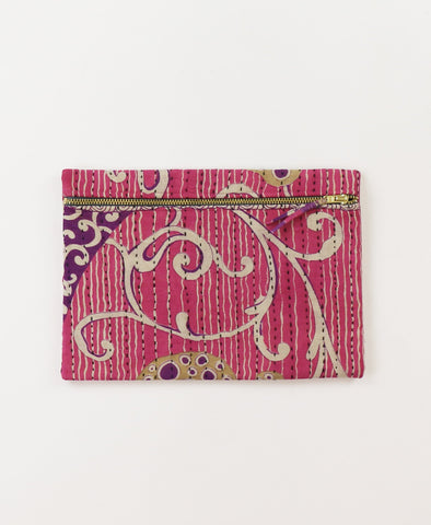Small Kantha Pouch - Pink and Purple Scroll | Anchal Project
