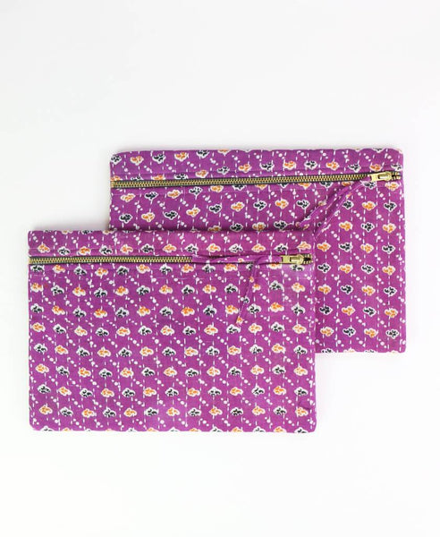 Small Kantha Pouch - Plum Paisley | Anchal Project