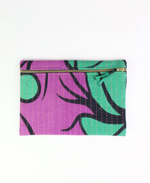 Small Kantha Pouch - Purple and Green Vines | Anchal Project