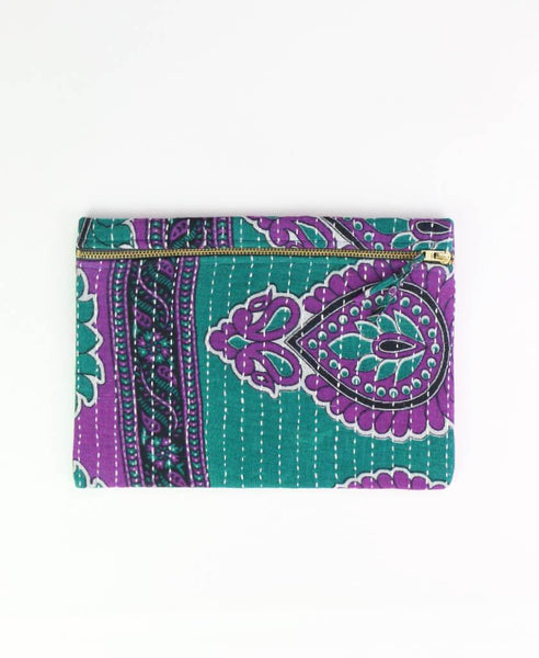 Small Kantha Pouch - Purple Medallion | Anchal Project