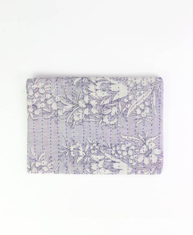 Small Kantha Pouch - Purple Thistle | Anchal Project