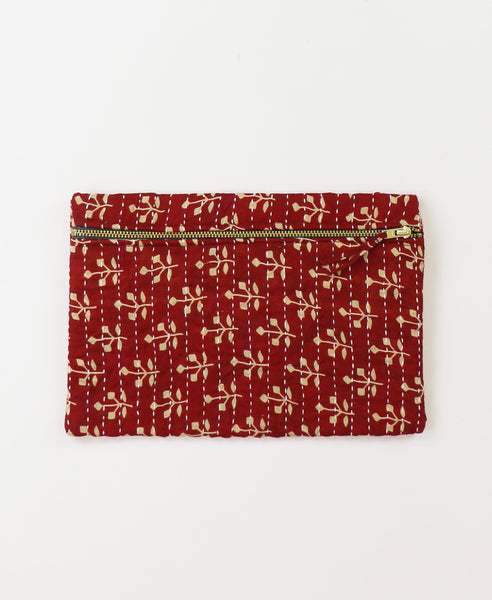 Small Kantha Pouch - Red Sprouts | Anchal Project