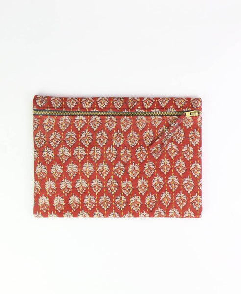 Small Kantha Pouch - Rosewood Leaves | Anchal Project