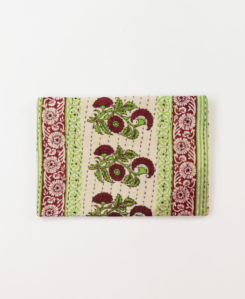 Small Kantha Pouch - Sangria Floral | Anchal Project