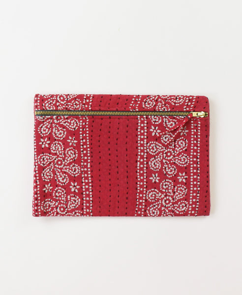 Small Kantha Pouch - Scarlet Sand Dollar | Anchal Project