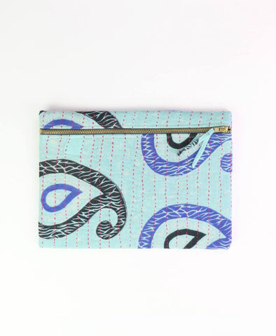 Small Kantha Pouch - Sky Paisley | Anchal Project