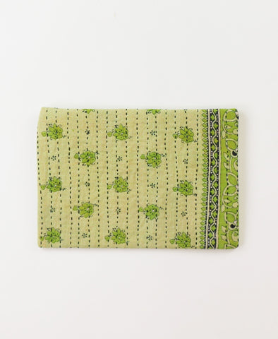 Small Kantha Pouch - Spring Green Meadow | Anchal Project
