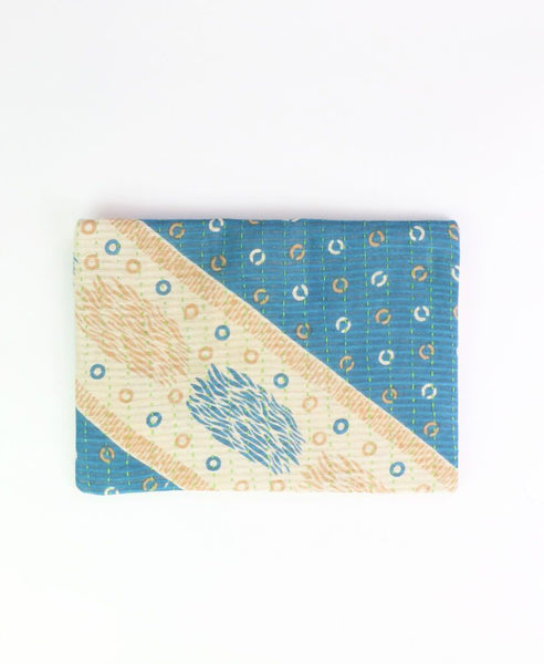 Small Kantha Pouch - Tan Circles | Anchal Project