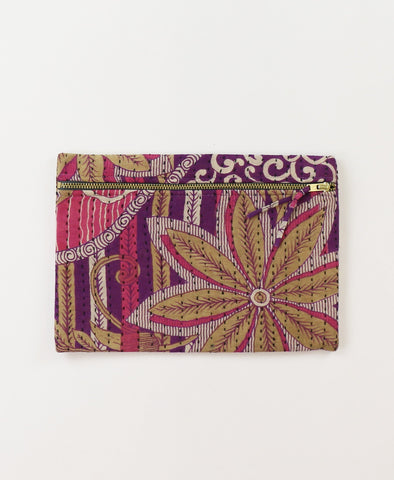 Small Kantha Pouch - Tan Flowers | Anchal Project