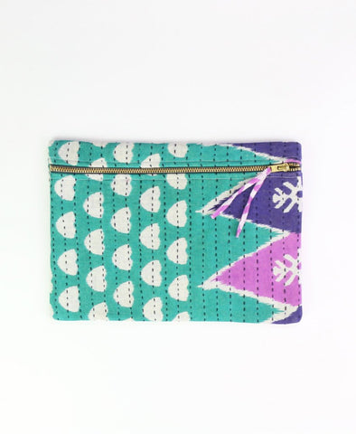 Small Kantha Pouch - Teal Dots