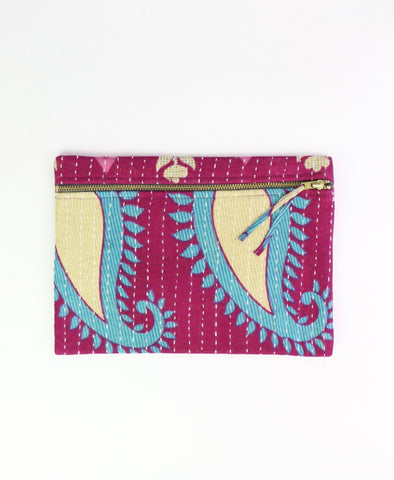 Small Kantha Pouch - Teal Teardrops