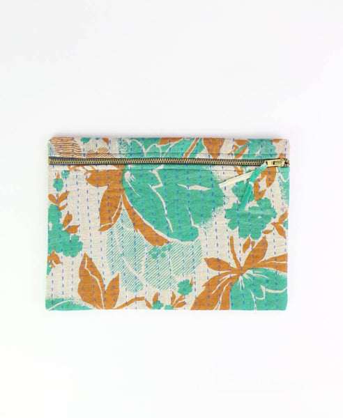 Small Kantha Pouch - Teal Tulips | Anchal Project