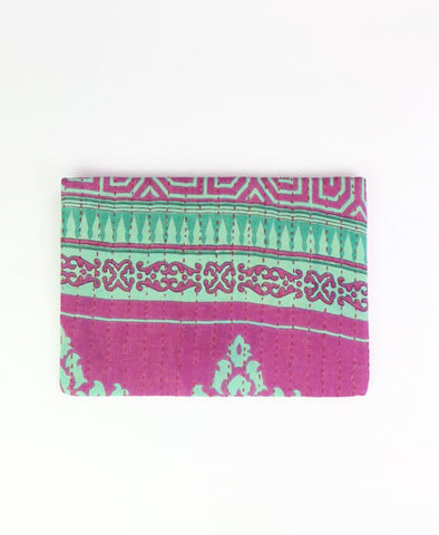 Small Kantha Pouch - Turquoise Medallion | Anchal Project