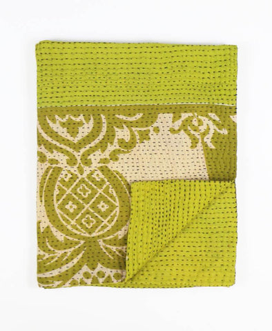 Small Kantha Throw Quilt - Green Pineapples | Anchal Project