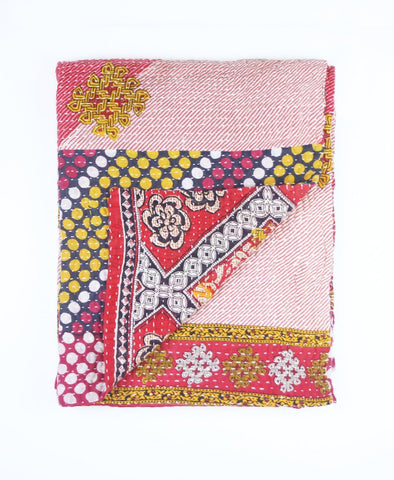 Small Kantha Throw Quilt - Polka Dotted Pink | Anchal Project