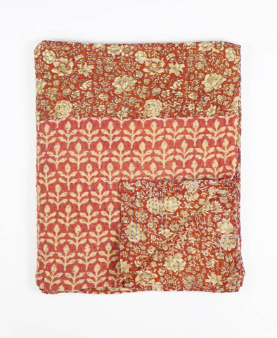 Small Kantha Throw Quilt - Rust Flower Garden | Anchal Project