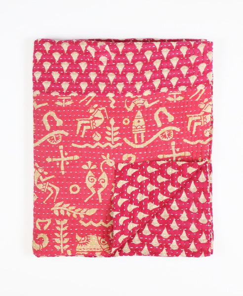 Small Kantha Throw Quilt - Strawberry Drops