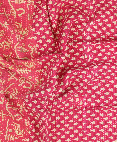 Small Kantha Throw Quilt - Strawberry Drops | Anchal Project