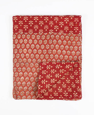 Small Kantha Throw Quilt - Terra Cotta Floral | Anchal Project