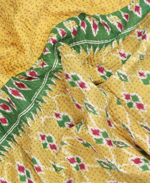 Small Kantha Throw Quilt - Yellow Diamond | Anchal Project