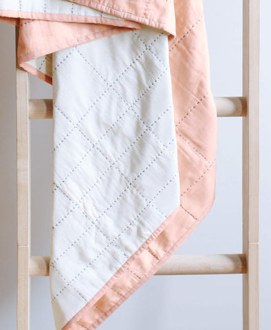 Small Organic Cotton Grid Throw - Blush | Anchal Project