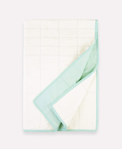 Small Organic Cotton Grid Throw - Mint | Anchal Project