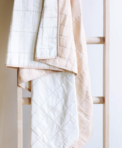 Small Organic Cotton Grid Throw - Sand | Anchal Project