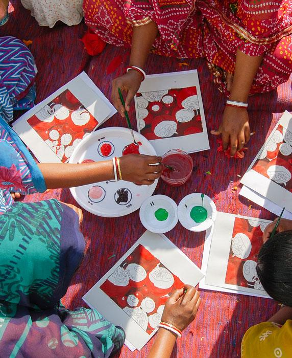 Anchal artisans learning color theory during a design workshop