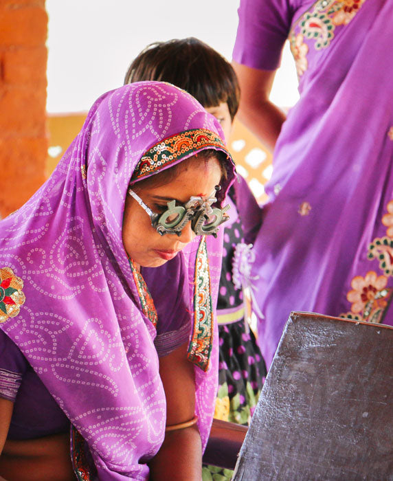 Anchal Project artisan receiving an donated eye exam