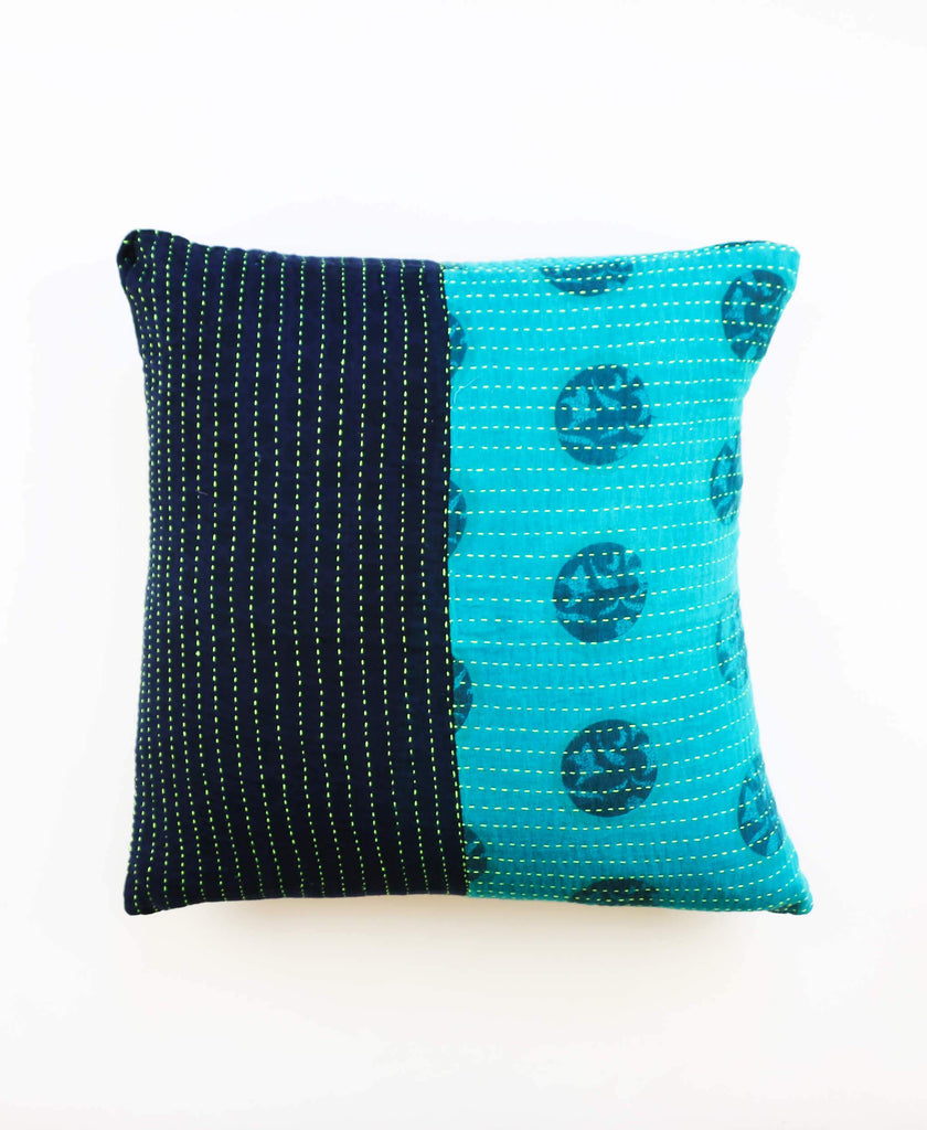 Anchal Project teal and indigo kantha throw pillow