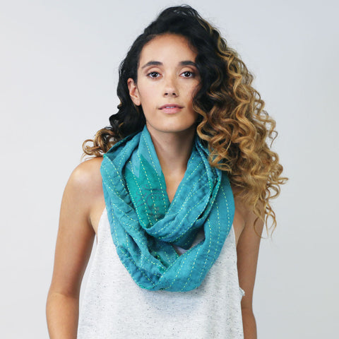 Teal Overdyed Hand-Stitched Scarf