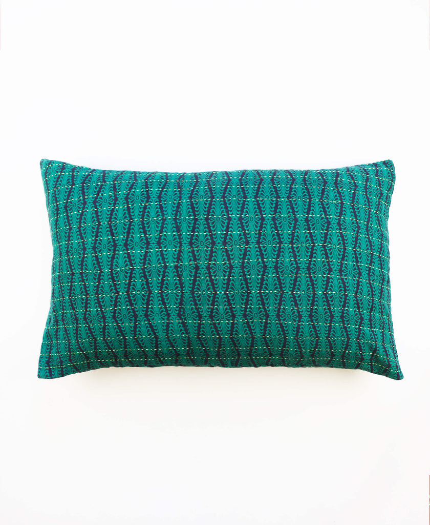 Anchal Project teal overdye throw pillow with kantha stitching