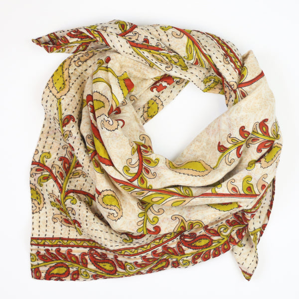 Handmade Cotton Square Scarf - Orange and Cream Paisley | Anchal Project