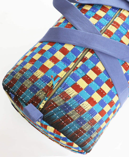 Weekender Travel Bag - Teal Checkers | Anchal Project