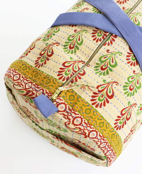 Weekender Travel Bag - Red and Green Paisley | Anchal Project