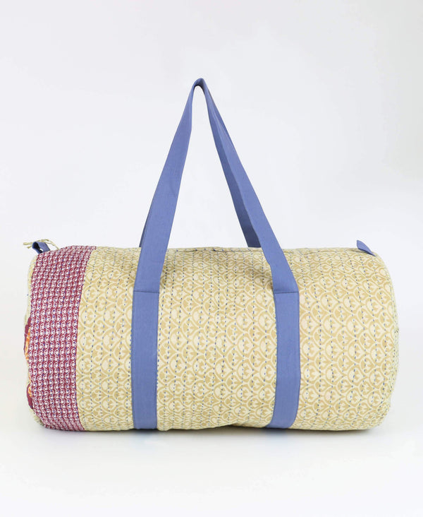 Kantha weekender bag in sandstone color perfect for overnight trips