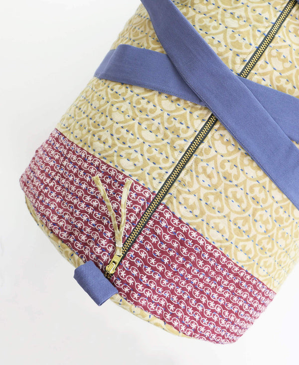 Zipper closure on kantha weekender bag that has been ethically made in Ajmer India