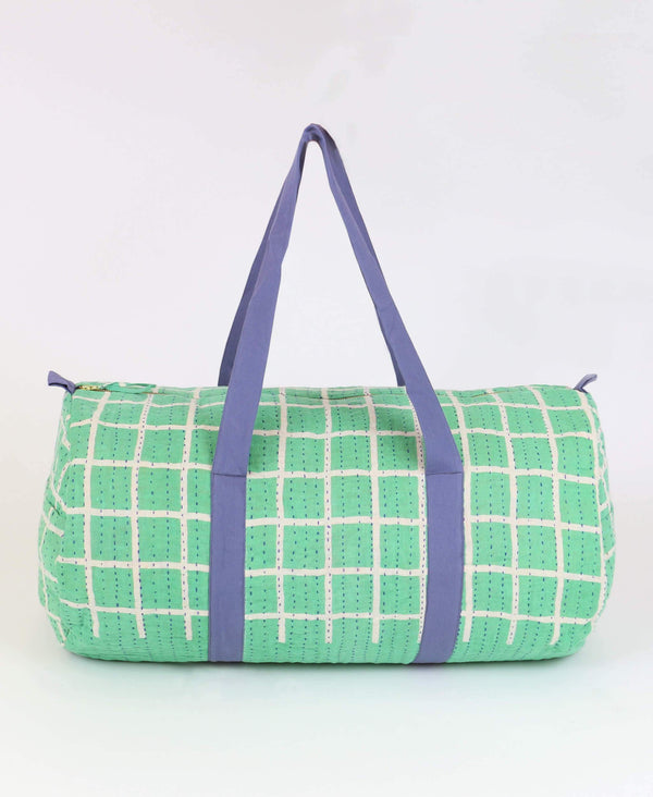 Kantha weekender duffle bag that is uniquely handmade by Anchal artisans in Ajmer India