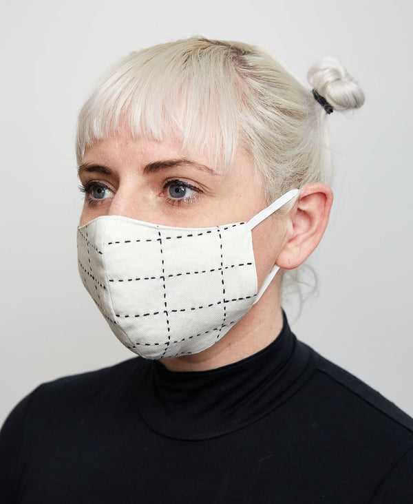 Fitted white cotton face mask which help to protect against the coronavirus