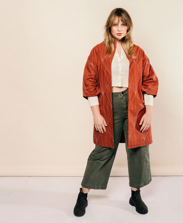 sustainable fall fashion with Anchal Project embroidered cocoon jacket