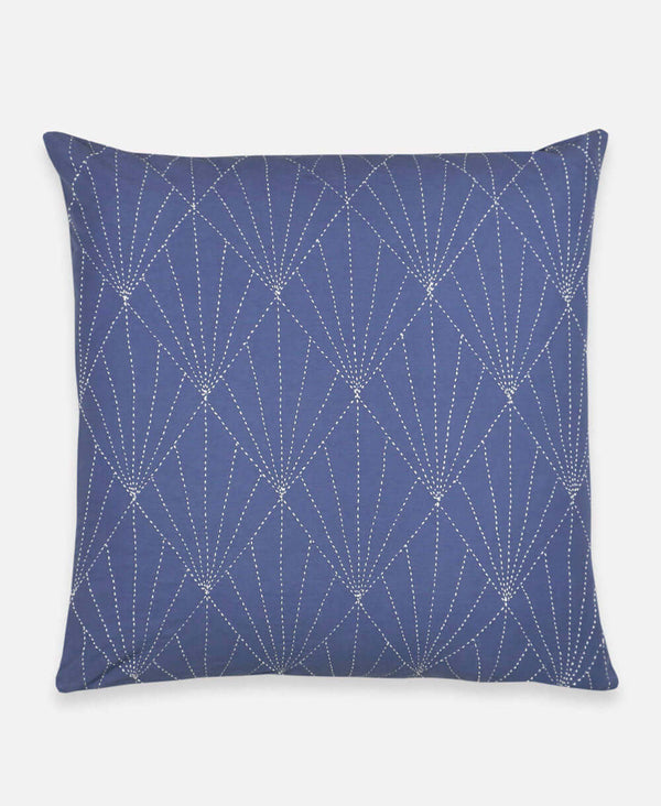 Anchal organic cotton throw pillow in slate blue with geometric art deco stitching