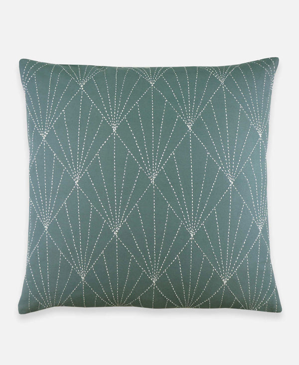 sage organic cotton throw pillow with hand-embroidery from an anchal artisan