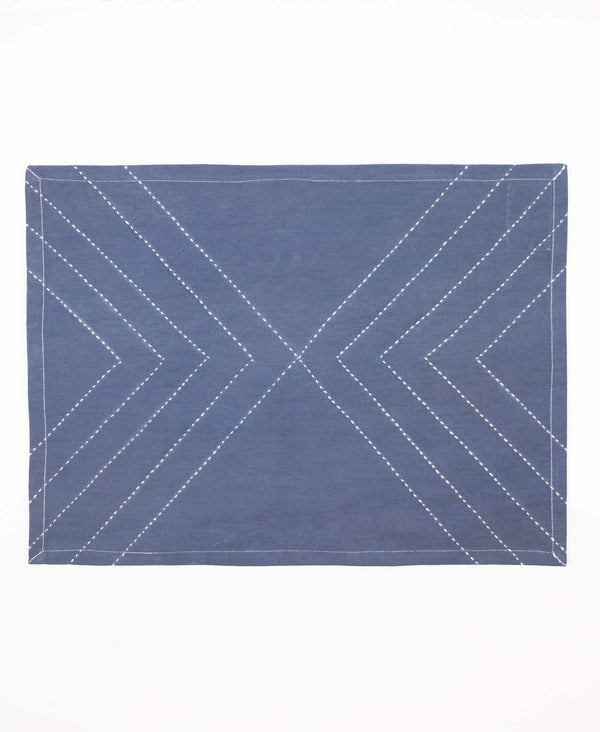 organic cotton embroidered placemats cotton canvas slate blue