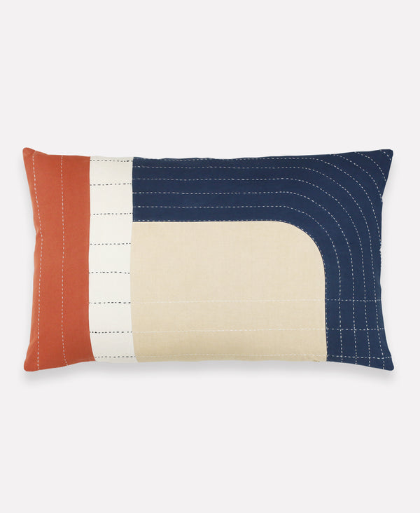 modern patchwork throw pillow in autumn colors