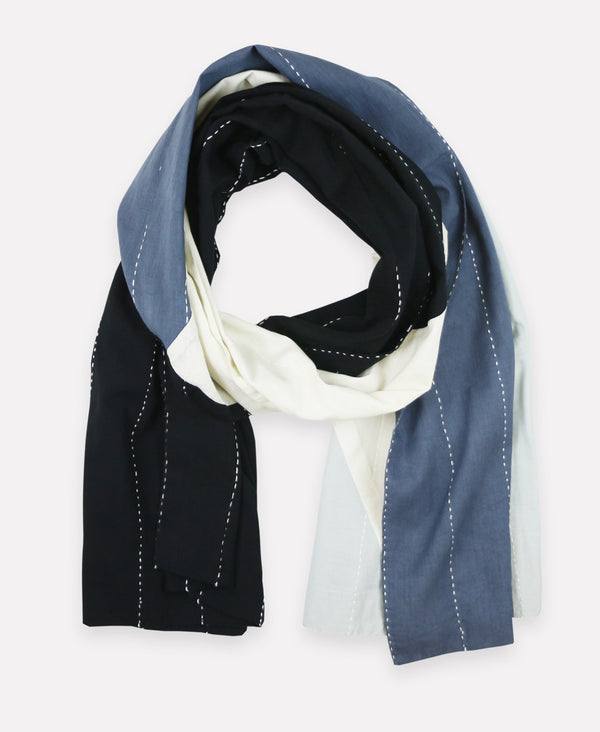 Oversized handmade colorblock scarf featuring kantha stitching