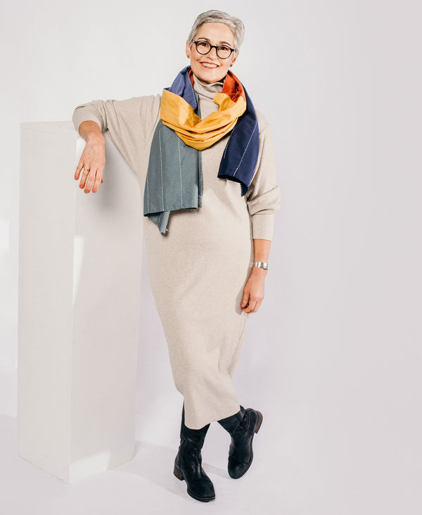 lightweight cotton scarf with colorblock design by Anchal Project