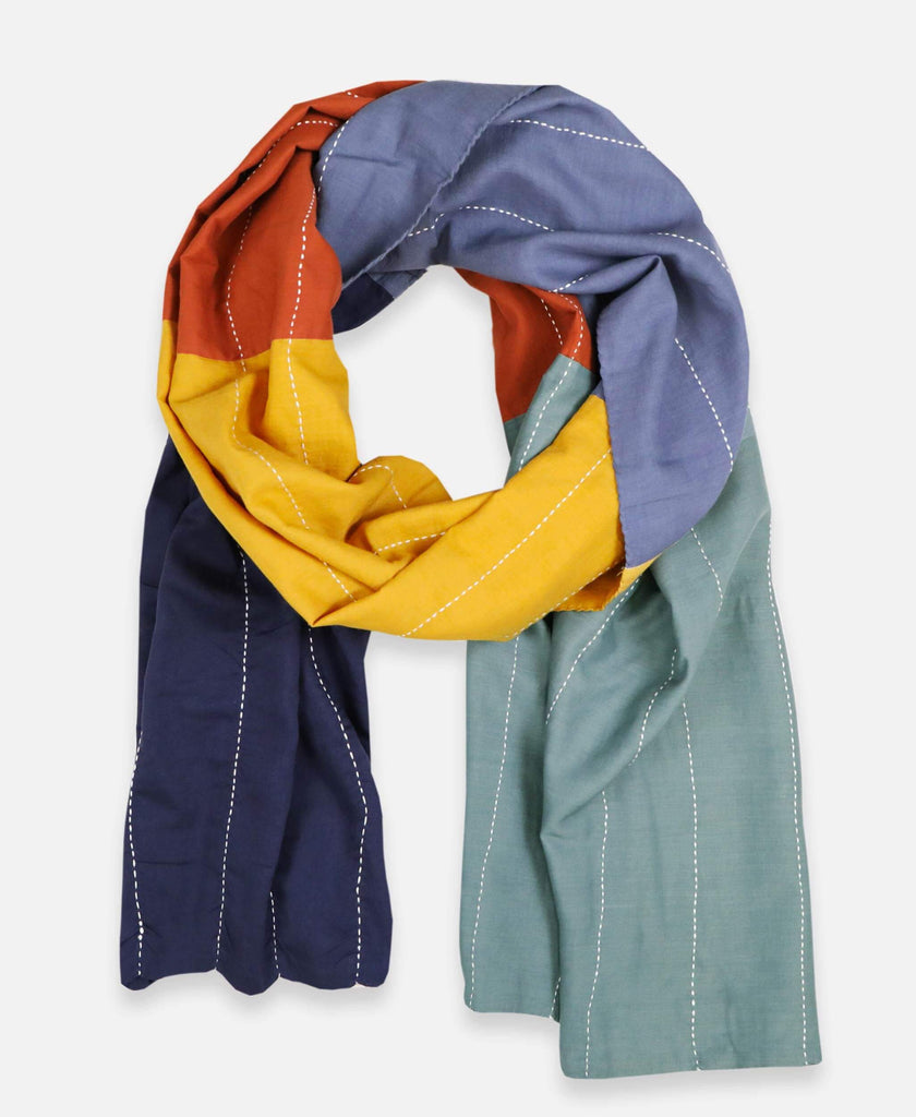 Anchal Project organic cotton scarf with rainbow colorclock design