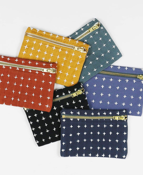 modern cross-stitch coin purses in bold colorways