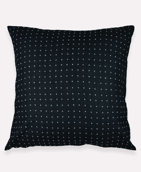 black euro sham with small cross stitching embroidery on an organic cotton pillow case