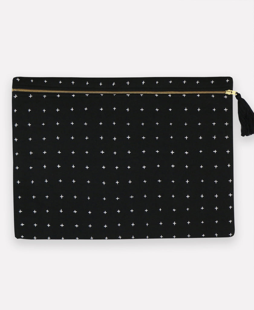 oversized handmade pouch clutch made from GOTS certified organic cotton